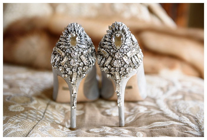 Badgely Mischka jeweled heel wedding shoes