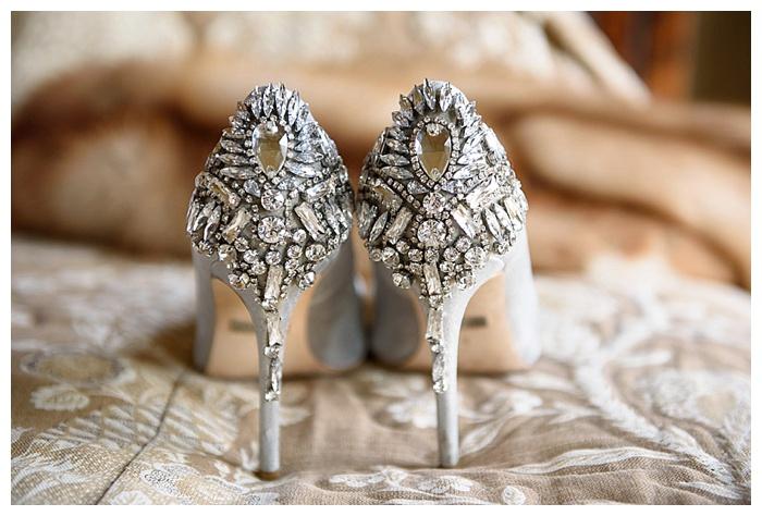 Badgely Mischka jeweled heel wedding shoes