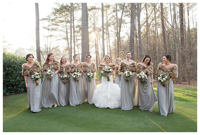 Bridesmaids with wedding fur stoles at Shoal Creek Club Birmingham