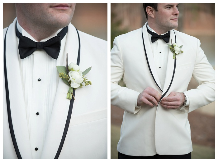 Groom in white dinner jacket shoal creek