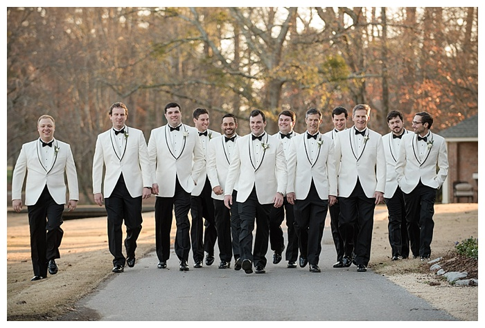 Groomsmen in white dinner jackets shoal creek Birmingham