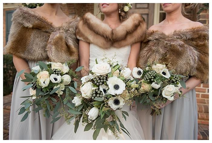 Bridesmaids wedding fur stoles