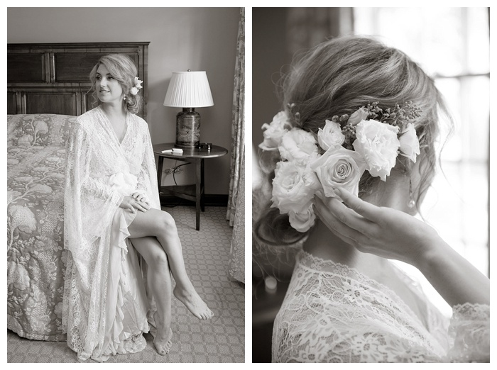Shoal Creek bride in lace robe