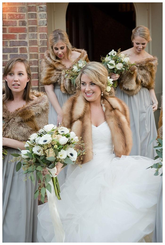 Bride in fur stole wrap Shoal Creek Birmingham Alabama