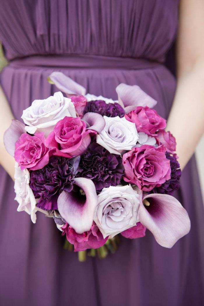 purple bridesmaids bouquet