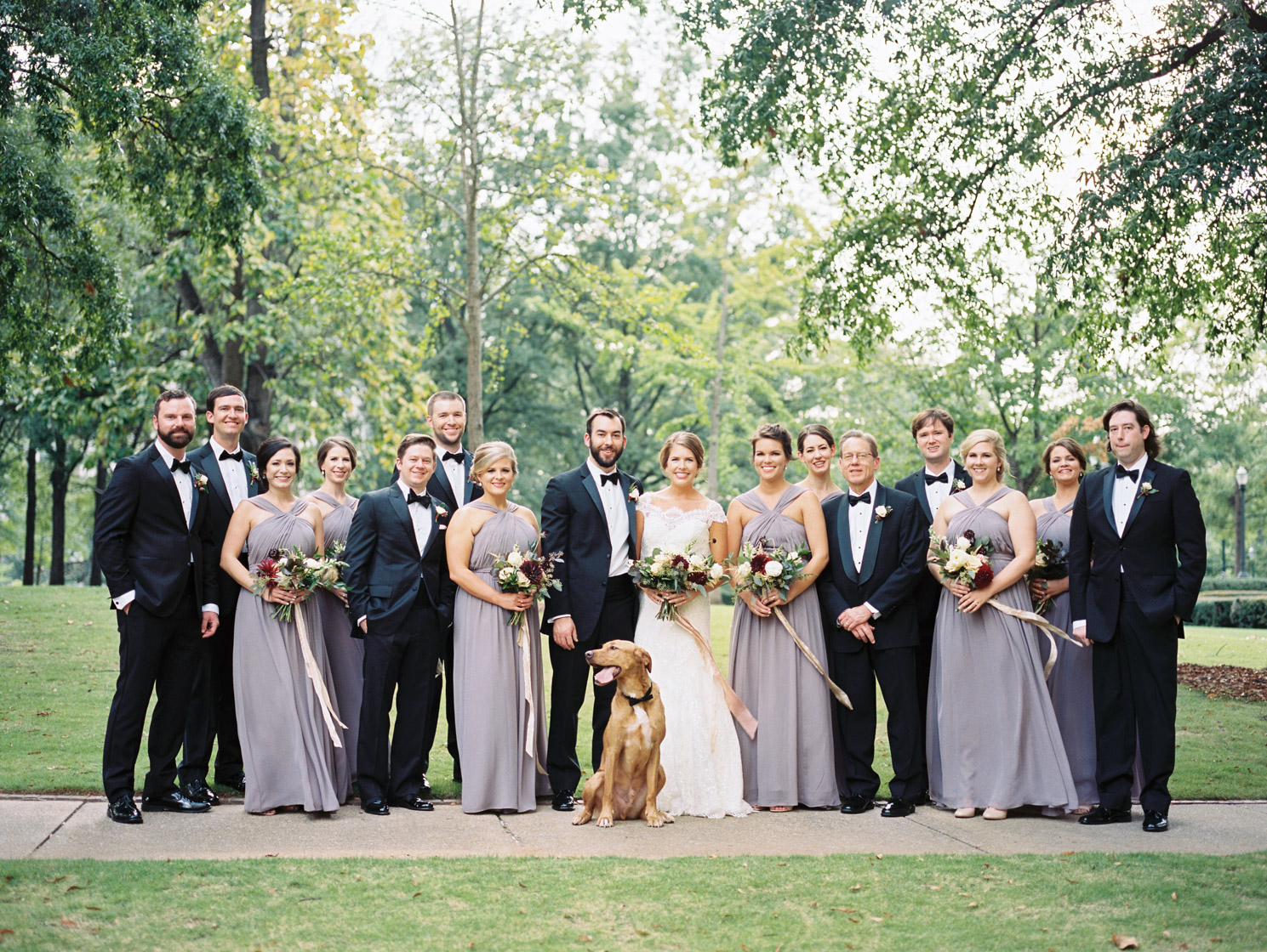 wedding party Linn Park Birmingham AL and purple bridesmaids dresses