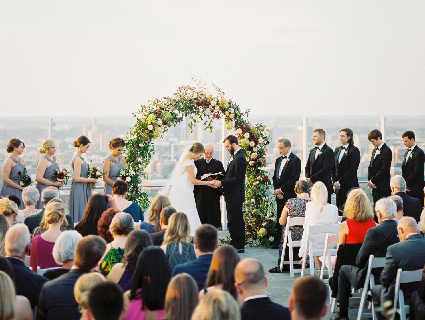 outdoor wedding at the club Birmingham with floral arch