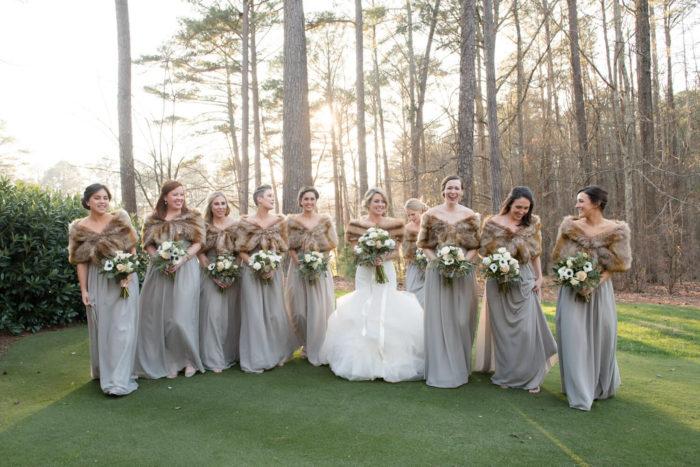 winter wedding with fur
