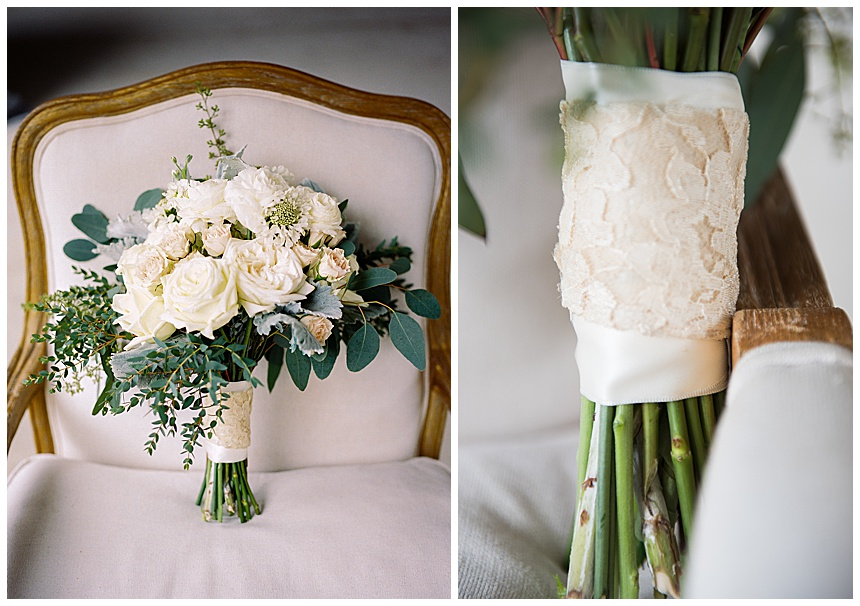 white wedding bouquet with vintage lace