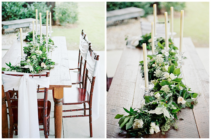 wedding reception farm table with garland