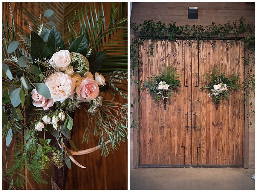 wedding florals on barn doors