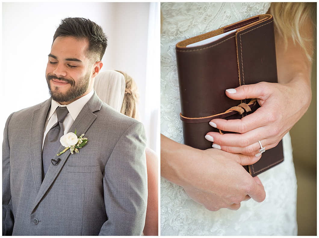 bride and groom first look leather journal