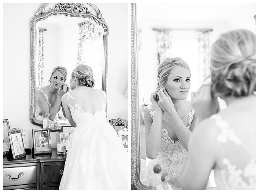 bride looking in mirror in Vestavia AL