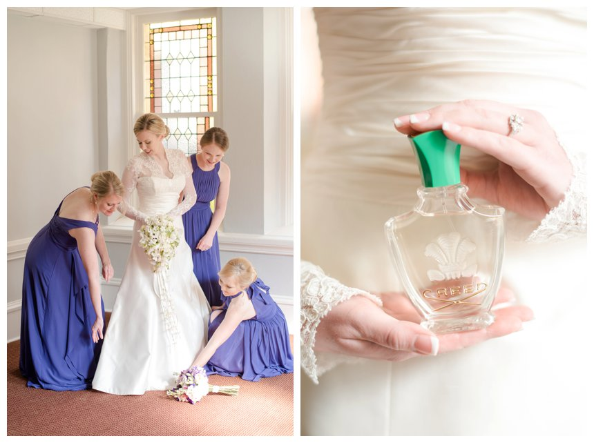 Bride and bridesmaids in purple getting ready and bride holding creed perfume
