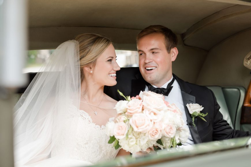 Bride and groom in limo Birmingham Alabama