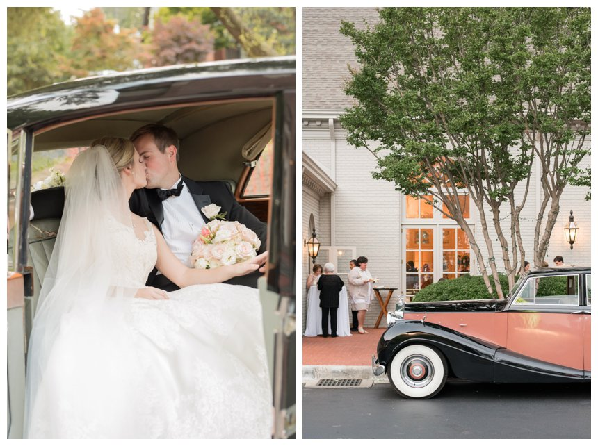 Bride and groom in vintage wedding car at Vestavia Country Club, Birmingham, Alabama.