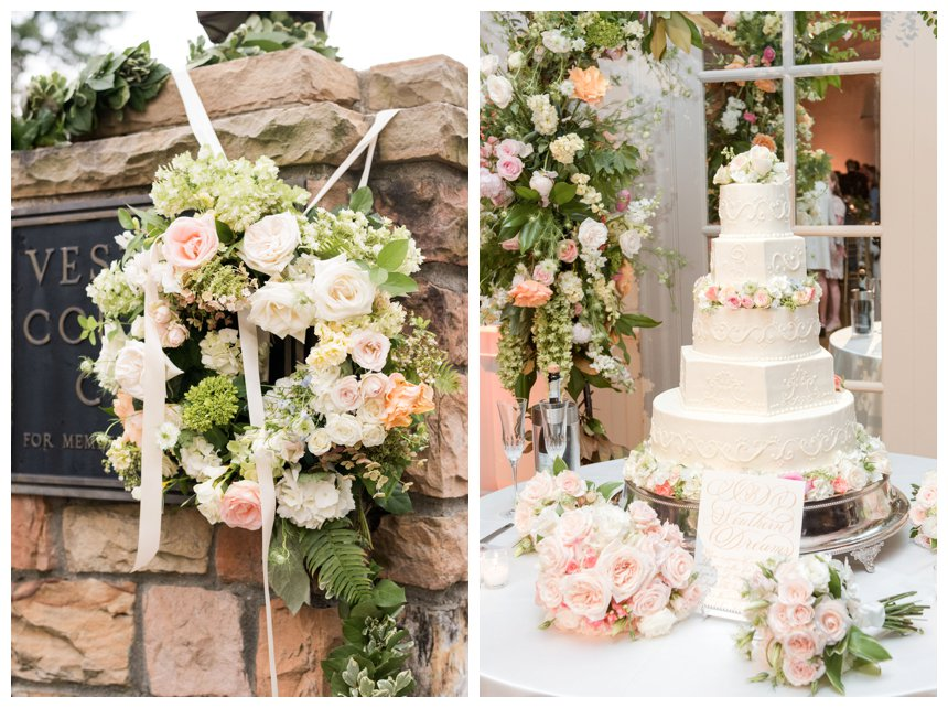 Wedding flowers and cake at Vestavia Country Club, Birmingham, AL.