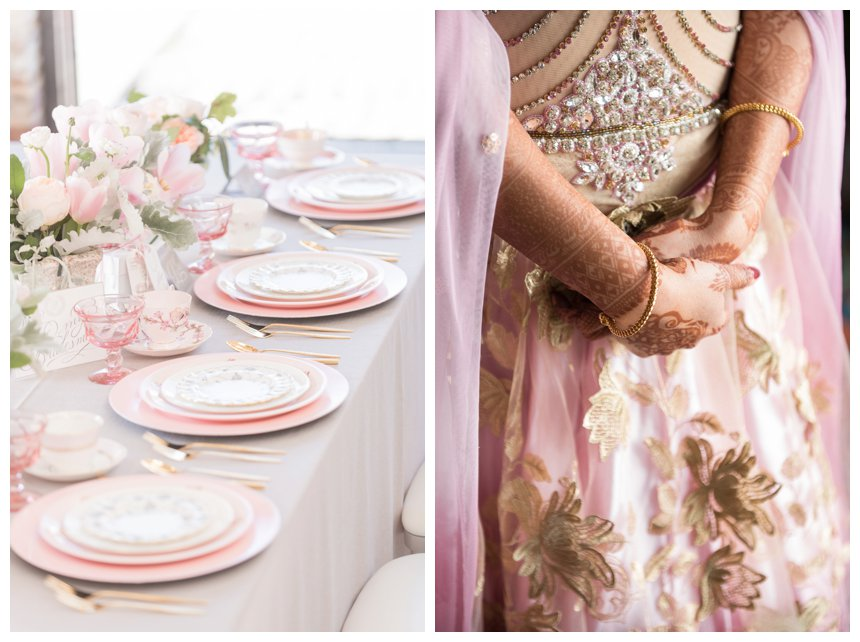 Pink and gray wedding tablescape and Hindu bride's hands with henna, wearing pink wedding lengha.