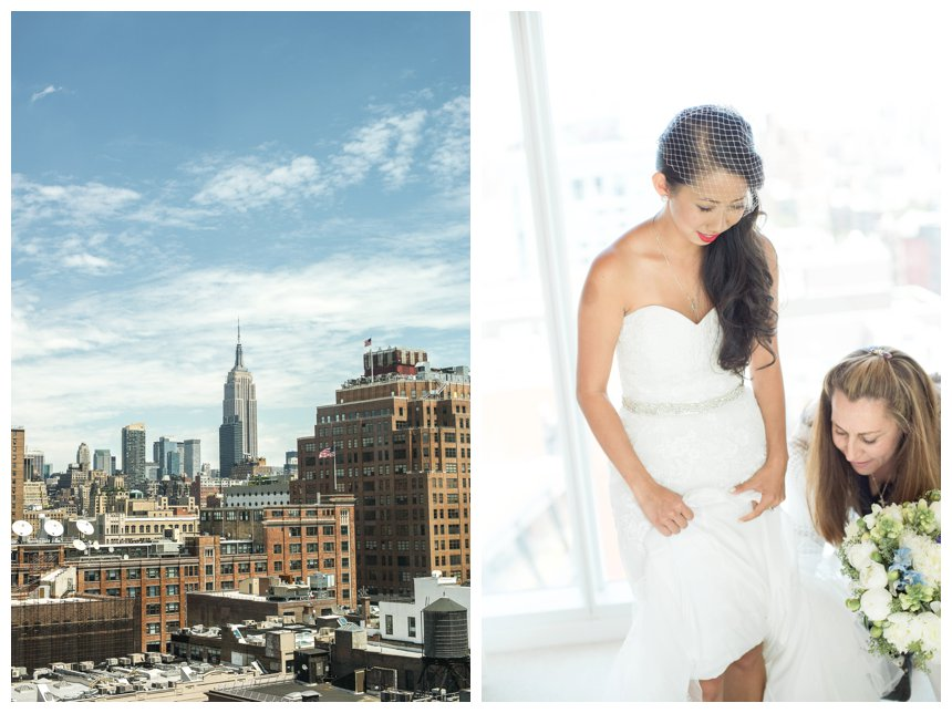 New York skyline and wedding planner Anita Kanellis helping a Vietnamese bride get dressed at The Standard Hotel.